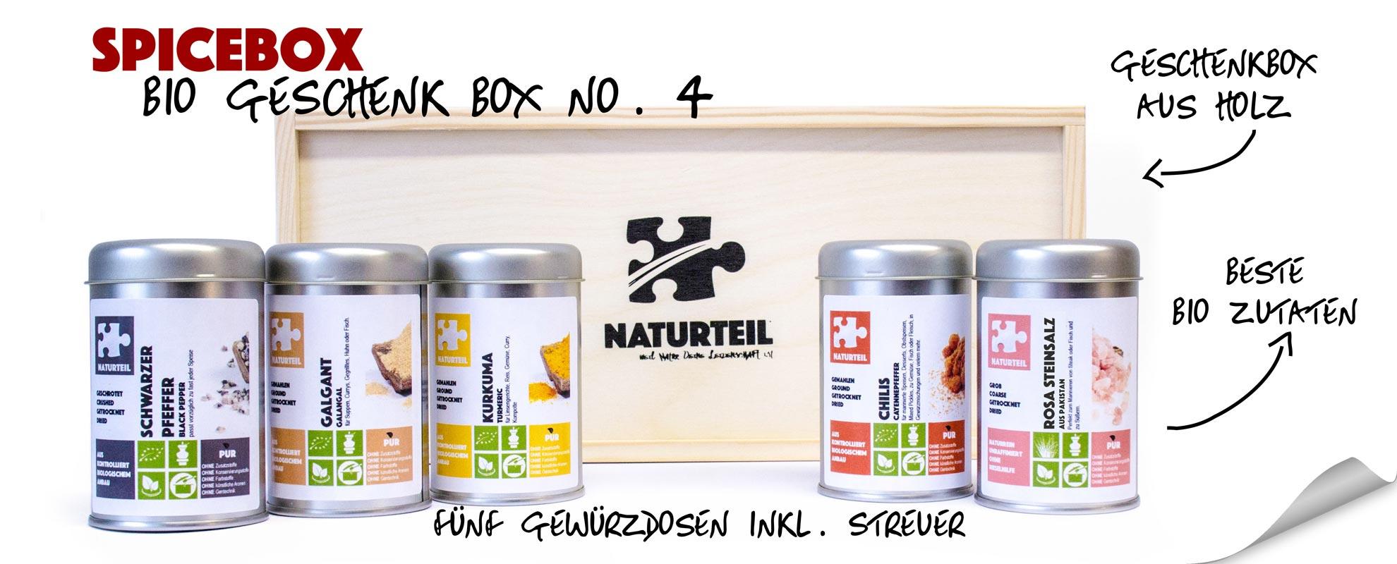 Naturteil Geschenke - bio spice box