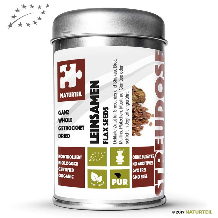 Organic whole flaxseeds in spice jar - Naturteil